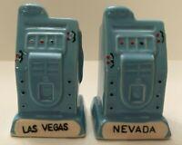 Las Vegas Nevada Blue Slot Machines Set of Vintage Salt & Pepper Shakers Ceramic