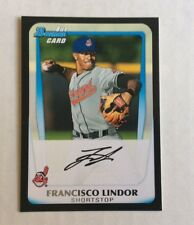5 CARD GAME USED AUTO ROOKIE VINTAGE REFRACTOR  LOT FRANCISCO LINDOR INCLUDED!