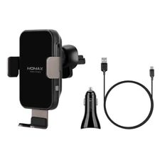 MOMAX Q. Mount Wireless Charging Car Air Vent Mount + Car Charger + Type-C Cable