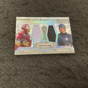 IRON MAN & CAPTAIN AMERICA Dual Memorabilia Relic 2021 UD Marvel Black Diamond 1