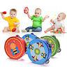 Cartoon Wooden Hand Shaking Bell Rattle Drum Tambourine Baby Kids Musical Toy