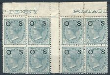 More details for qv ½d block of 8: official optd os - new south wales 1892- unused hinged-sg o58b