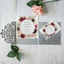 Tri-folds Squares Customized Flowers Printed Invitation Cards With Envelopes New
