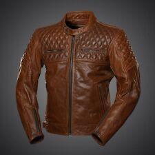 New Men's Motorcycle Racing Biker 100%Cowhide Leather Jacket All Sizes Brown