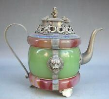 Old Handwork Jade & Tibet Silver Carved Dragon Phoenix Tea Pot monkey lid