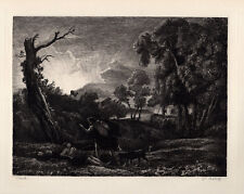 """Claude LORRAIN 1800s Etching """"Cephalus and Procris Tragedy"""" SIGNED Framed COA"""