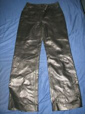 ST JOHN COLLECTION MARIE GRAY BLACK  LINED ( SILK & SPANDEX) SIZE 8 LEATHER PANT