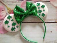 St. Patrick's Day Shamrock Minnie Mouse ears headband-Disneyland- Disney World