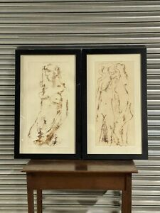 Pair Of Large Pen Ink Abstract Nude Artwork Monogrammed ER Dated 1954