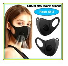 Face Mask Protective Covering Mouth Air Flow Masks Washable Reusable Black UK