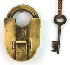 19th Century Vintage Heavy Duty Indian Solid Brass Padlock Collectible G2-319