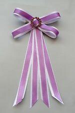 Junior Rider Equestrian Hair Ribbon Bow - Lilac & White Satin & Rhinestones