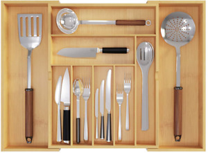 Expandable Cutlery Organizer Flatware Bamboo Drawer Kitchen Storage Utensil Tray