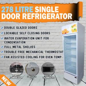 NEW 278Lt Commercial Single Glass Door Drinks Fridge Chiller Beer Refrigerator