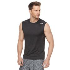 FILA SPORT Mens Fitted Tru-Dry Fitted Space-Dyed Base Layer Performance Tank Med