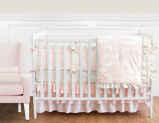 Sweet Jojo Blush Pink White Damask Gold Dot Girl Crib Baby Bedding Comforter Set