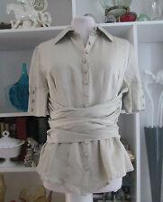 Womens List Collezioni sz 14 Italian Nubuck Unique Wrap Shirt