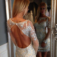 Short Crystal Formal Pageant Cocktail Dresses Party Prom Evening Wedding Gowns