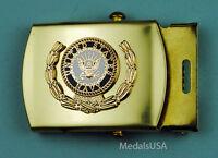 Navy Wreath Web Belt & buckle - brass buckle &  navy blue web belt - USN 5777