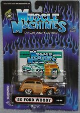 2002 MUSCLE MACHINES '50 Ford Woody #02-08 Real Riders Brown with Flames 1950