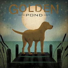 Moonrise Yellow Dog - Golden Pond Ryan Fowler Sign Dog Lab Animals Print Poster
