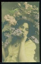 Real Photo Tinted Photo Pretty Lady Flowers Fancy Hat 1911 Vintage Postcard