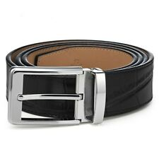 BNWT Men's High Quality Genuine Leather Adjustable Crocodile Print  Belt - Black