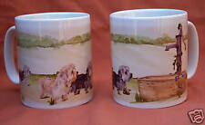 DANDIE DINMONT TERRIER DOG MUG OFF TO THE DOG SHOW WATERCOLOUR PRINT SANDRA COEN
