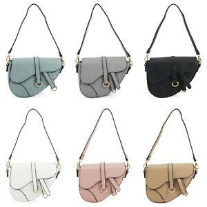 Ladies Asymmetrical Shape Crossbody Bag Women's Grab Handle Shoulder Bag New UK