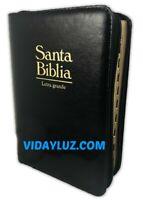 BIBLIA REINA VALERA 1960 L/GRANDE CIERRE PIEL NEGRO INDEX PALABRAS JESUS EN ROJO
