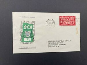 Postal History GB QE2 1953 Helicopter Service & 8d BEA Stamp to London