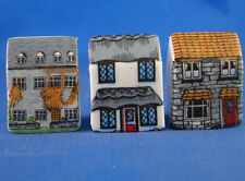 Birchcroft Thimbles -- Set of Three -- Miniature House Shape - Town