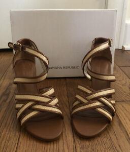 "Banana Republic Womens ""Marina"" Tan Leather Ankle-Strap Sandal Size 7  New"
