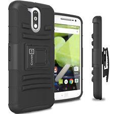 For Motorola Moto G4 / Moto G4 Plus Belt Clip Case Black Holster Hybrid Cover