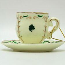 Kurt Adler Irish Green Gold Shamrock Teacup Ornament J0682-1