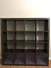 Ikea 16 Shelf Unit Espresso/Dark Cube Storage Expedit Model, used.