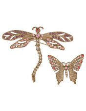 ACCESSORIZE DRAGONFLY & BUTTERFLY BROOCH SET CRYSTAL GOLD PINK PURPLE MONSOON