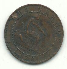 HIGH GRADE DETAILS 1870 OM SPAIN CINCO GRAMOS 5 CENTIMOS-NOV590
