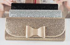 New Glitter Satin Bow Evening Clutch Bag Wedding Bridal Prom Party Chain Handbag