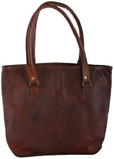 "16"" Women Vintage Looking Genuine Brown Leather Tote Shoulder Bag Handmade Purse"