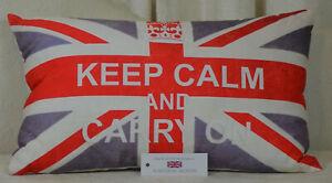 """Handmade Keep Calm And Carry On Rectangular Cushion Union Jack 12""""x20"""" inc.inner"""