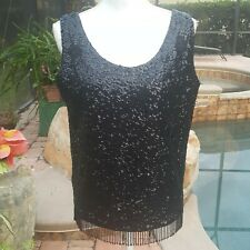 Vintage Black Bead & Sequin Sleeveless Evening Top Pure Wool Lined M
