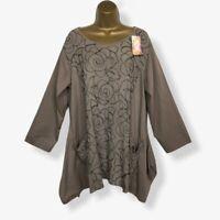 NEW Italian Tunic Top Mocha Embroidered Lagenlook Womens UK Plus Size 16 18 20