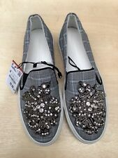 Womens Zara Slip On UK 5 Patterned Diamante Detail Flats (New with Tags)