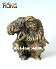 16  cm Western Art deco pure Bronze old man men Reading and smoking Sculpture