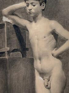 19th C. Neapolitan Academic Male Nude Drawing of a Boy Antonio Corrado Academy