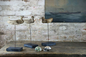 Primitive 19th Century Antique Trio Shorebird Working Decoys Folk Art