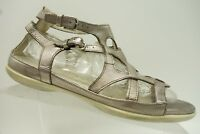 Ecco Metallic Gray Leather Buckle Ankle Strap Sandals Women's 41 / 10 - 10.5