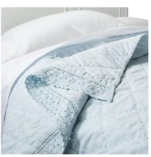 Simply Shabby Chic KING Linen Blend Blue Crochet Lace Trim Quilt NEW
