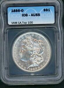 """1886O Morgan Silver Dollar CERTIFIED ICG AU55 VAM 1A TOP 100 """"E"""" REVERSE ERROR"""